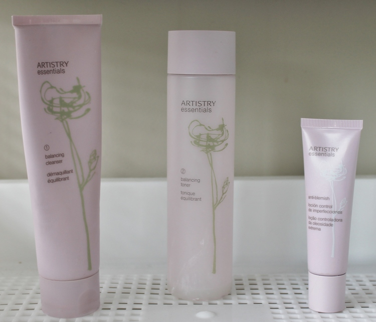 From left to right: Facial wash, Balancing toner, Anti-blemish cream