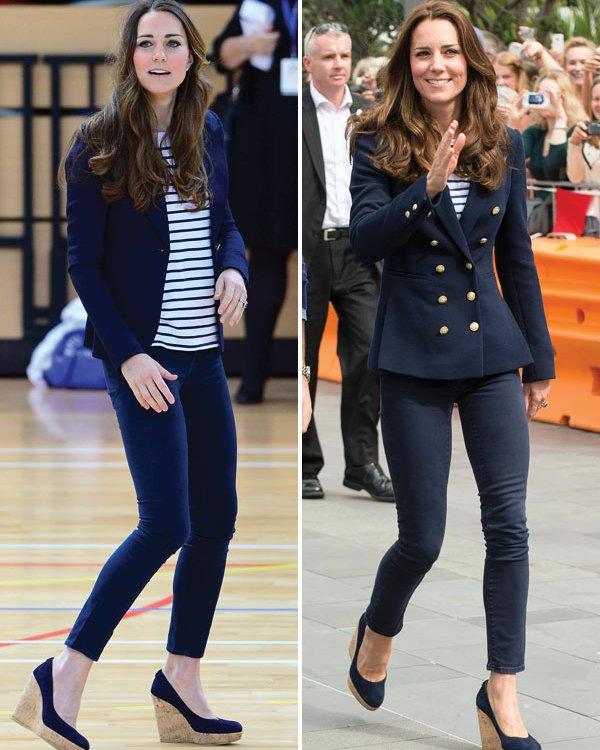Even her casual style is so elegant!  Love, love, love her navy blazer!